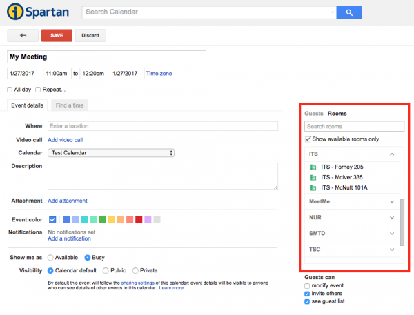 Image of Google Calendar with the Guest and Rooms selection panel open