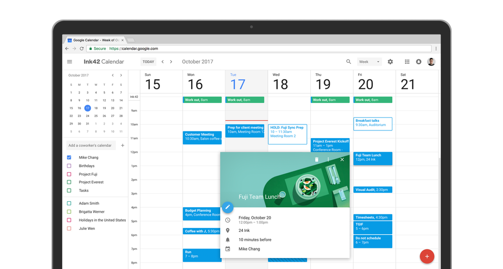 Image shows the new Google Calendar appointment interface