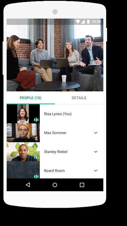 Screenshot of Hangout meets on mobile phone