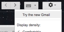 """Try the new Gmail"" menu item"