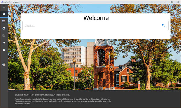 Welcome screen for new version of Application Navigator