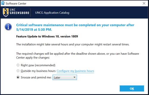 REMINDER: Windows 10 1809 Update Deadline | Tuesday, May 14