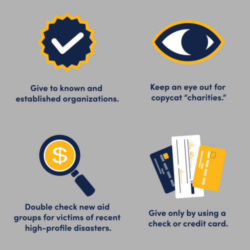 """Give to known and established organizations. Keep an eye out for copycat """"charities."""" Double check new aid groups for victims of recent high-profile disasters. Give only by using a check or credit card."""